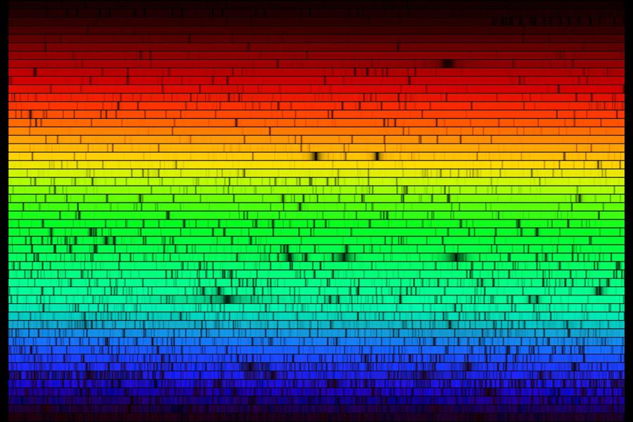 187447d8d Zde jsou všechny viditelné barvy ze Slunce vytvořené průchodem slunečního  světla zařízením, které se funkcí podobá hranolu. Toto spektrum vzniklo na  ...